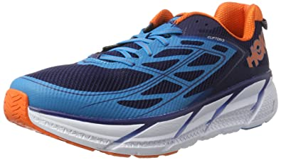 Hoka One One Herren Clifton 3 Laufschuhe, Blau (Medieval Blue/Red Orange)