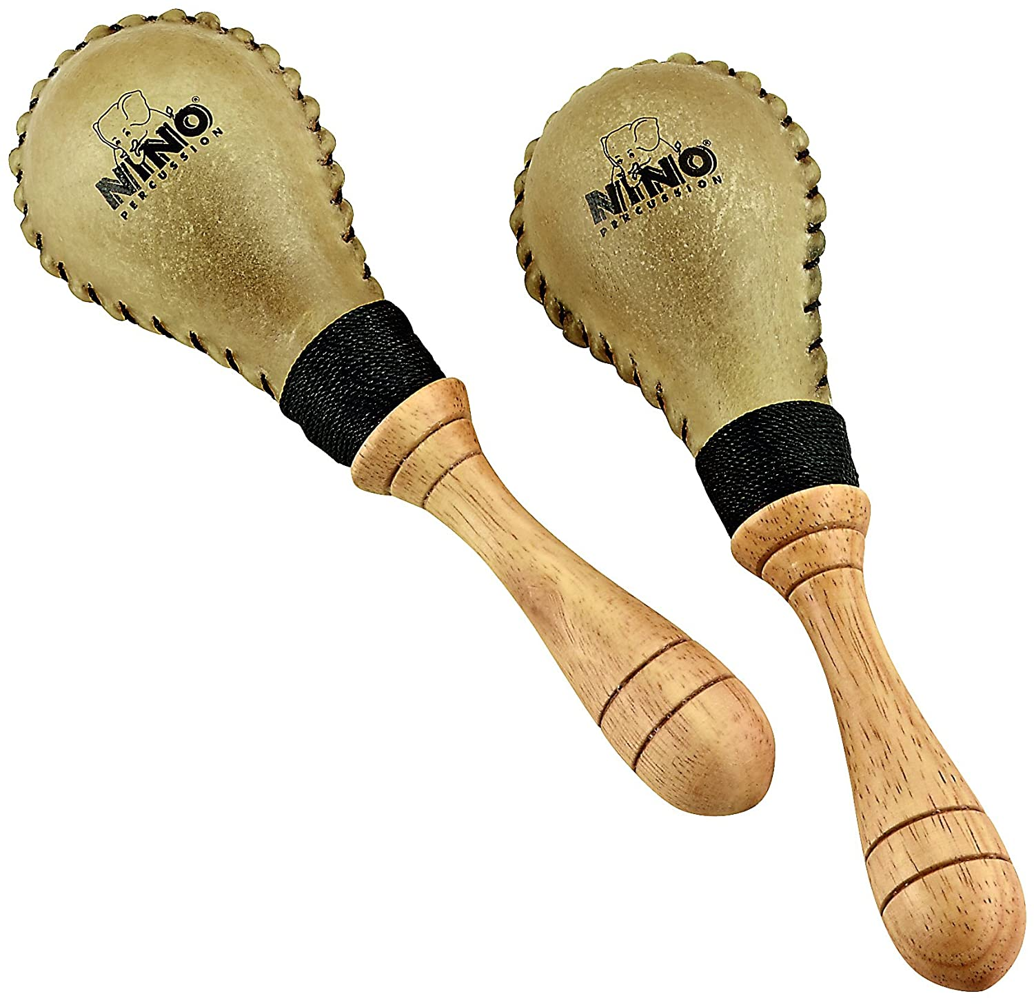 Nino Percussion Nino10 Natural Rawhide Maracas, Small