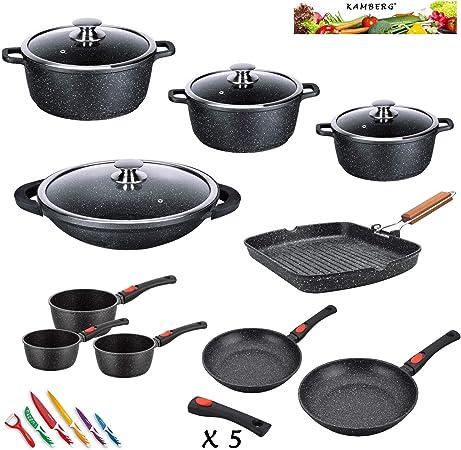 Kamberg 0008164 Set Lot Batterie De Cuisine 25 Pieces Fonte