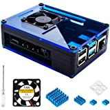 Miuzei Case for Raspberry Pi 4 with 35mm Cooling Fan and 4 pcs Aluminum Heat Sinks for Raspberry Pi 4 Model B (Pi 4 Board Not