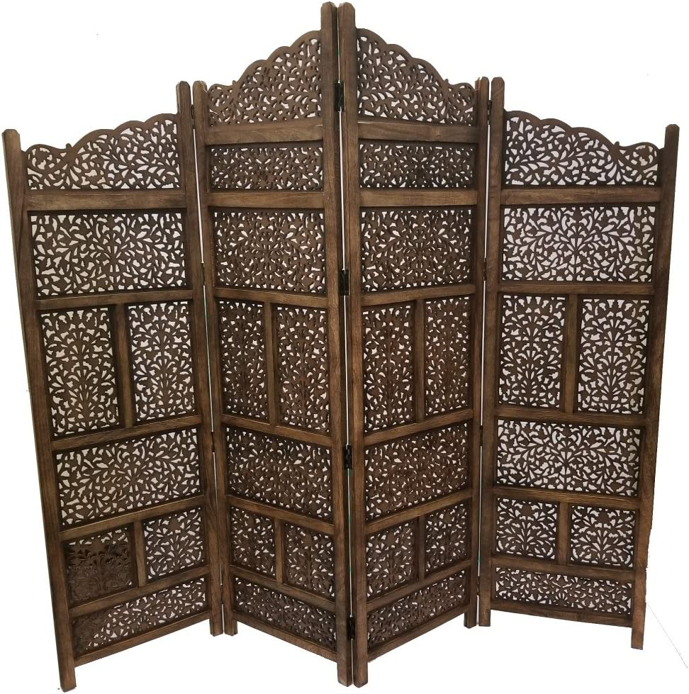 "Deco 79 Traditional Wood Multi-Panel Room Divider, 72"" H x 80"" L, Textured Brown Finish"