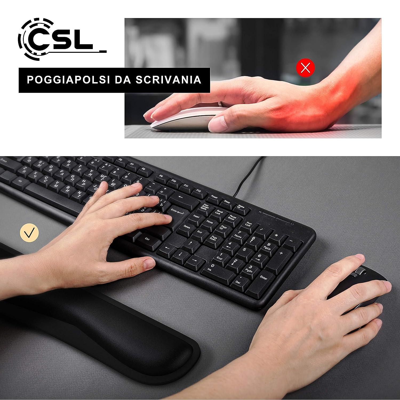 CSL Sollilevo per le articolazioni Poggia polsi in Memory Anti affaticamento Poggiapolsi per mouse e tastiera Lungo 43 cm