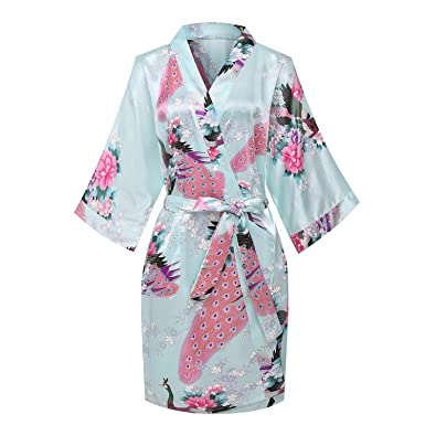 Image Unavailable. Image not available for. Color  Kimono Palace Women s  Japanese Traditional Peacock Silk Kimono Robe Floral ... 3d79831d8