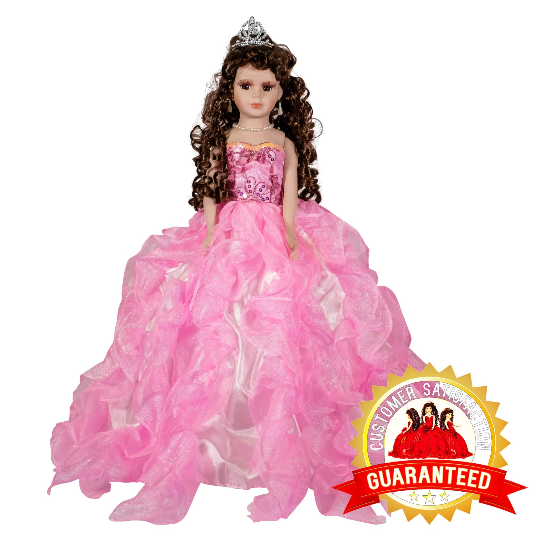 Kinnex Collections by Amanda 20'' Porcelain Quinceanera Umbrella Doll (Table Centerpiece)~ Pink ~ KB20727H-3
