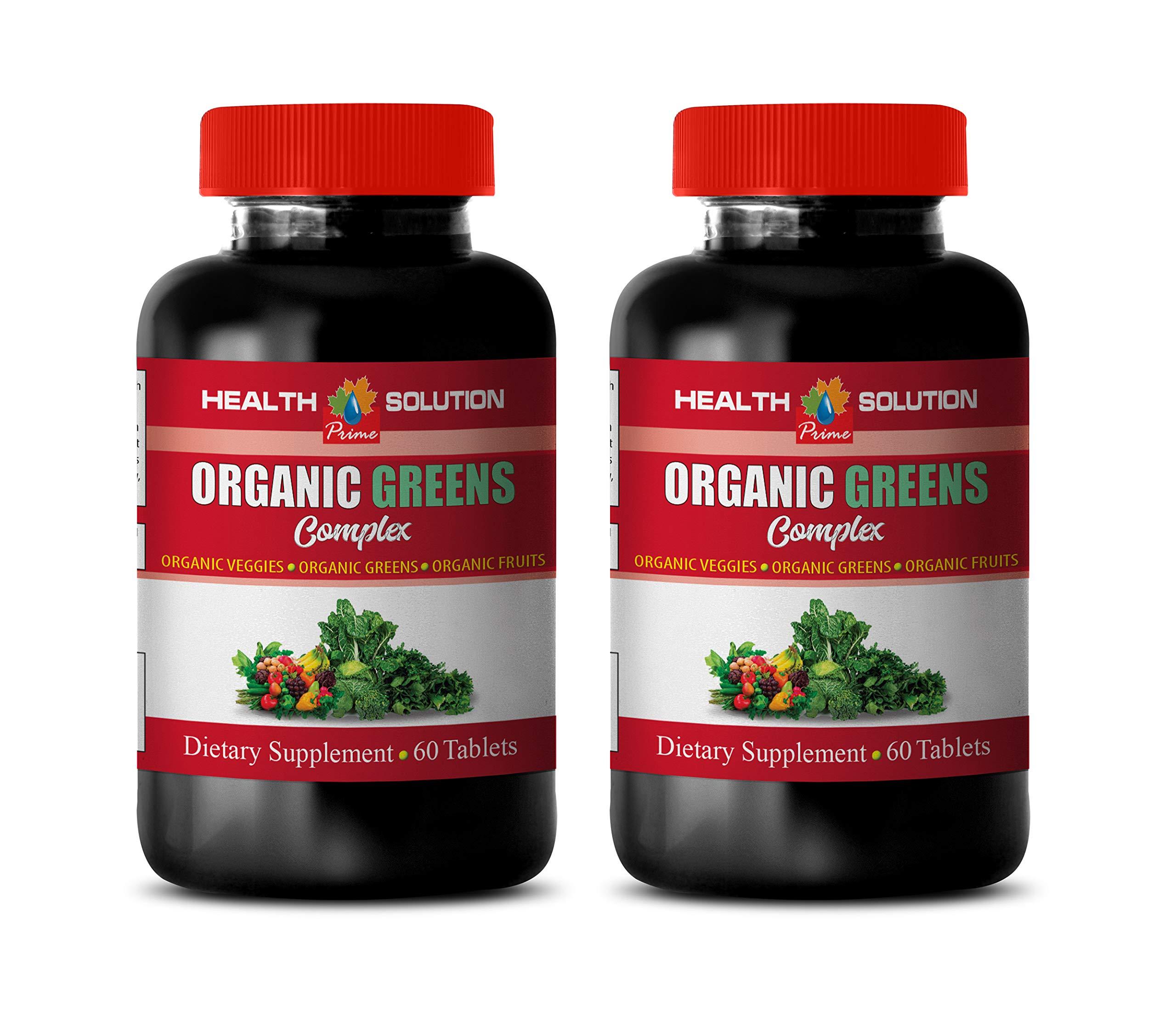 antioxidant Supplement Organic - Greens Organic Complex - Dietary Supplement - Strawberry Extract Organic - 2 Bottles 120 Tablets