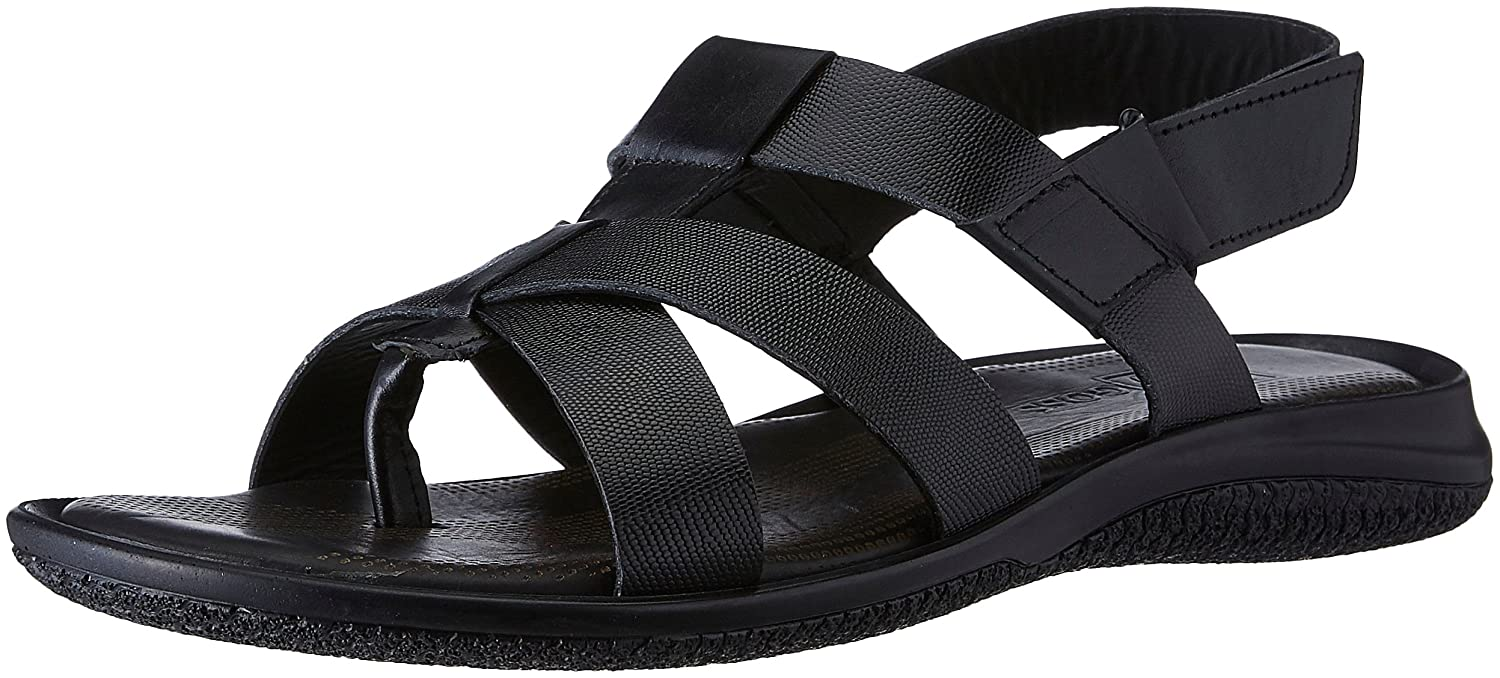 f30fc8ae01dd8 egoss Men s Black Leather Sandals and Floaters - 6 UK India (40 EU)  Buy  Online at Low Prices in India - Amazon.in