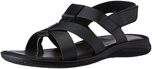 58fe424c3117f egoss Men s Black Leather Sandals and Floaters - 6 UK India (40 EU ...