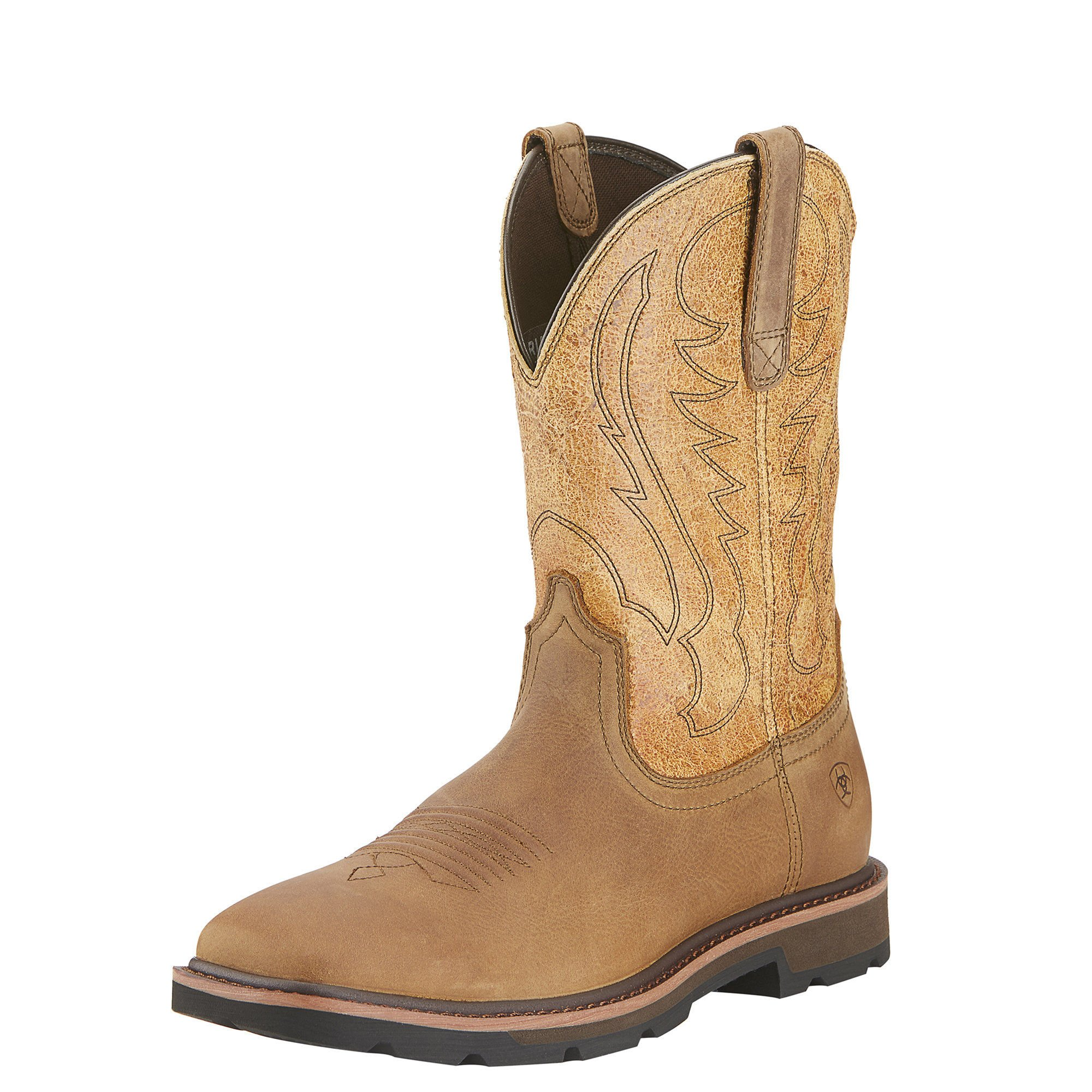 Ariat Men's Groundbreaker Wide Square Toe Work Boot, Dusted Brown/Sand Crackle, 13 M US