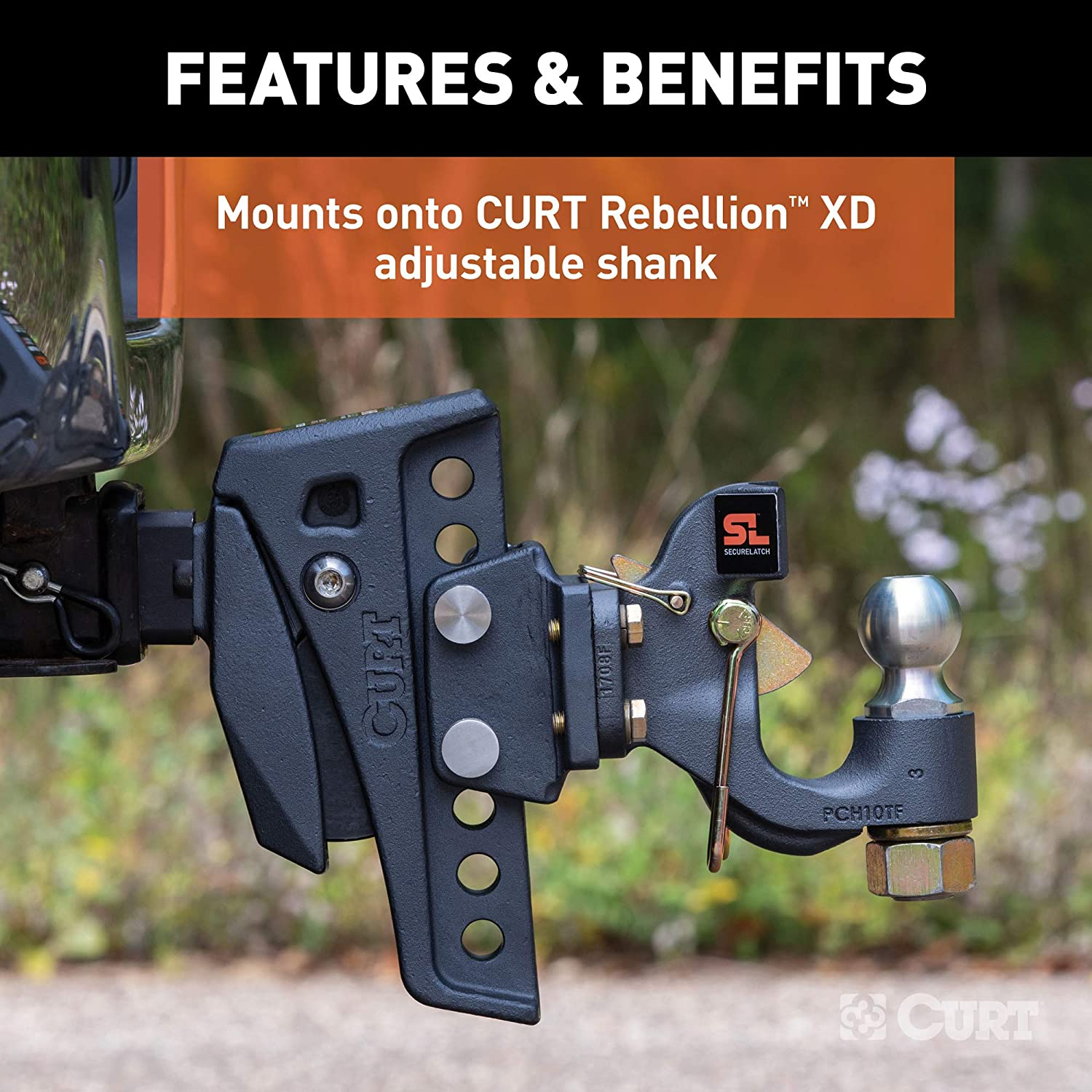 CURT 45950 Rebellion XD Adjustable Cushion Hitch Pintle Mount Plate Attachment Shank Required