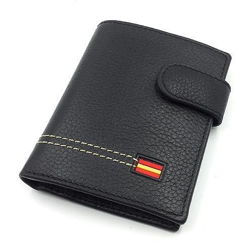 FJR-ArtPiel - Cartera, billetera, tarjetero, monedero vertical Piel Ubrique con bandera de España y cierre de trabilla modelo pequeño - Alta Calidad - Negro: Amazon.es: Handmade