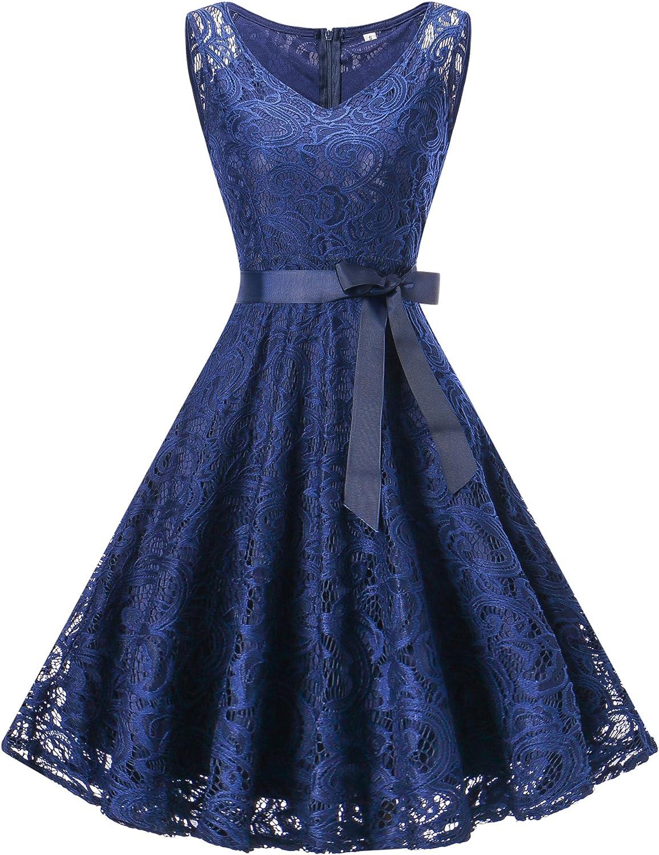 TALLA XL/EU 42-44. Vestido Mujer de Encaje Corto Vestido de Fiesta Vestido de Cóctel Sin Manga con Lazo Cuello V y Cuello Redondo para Madrina Fietsa Boda Ceremonia y Eventos V-azul XL/EU 42-44