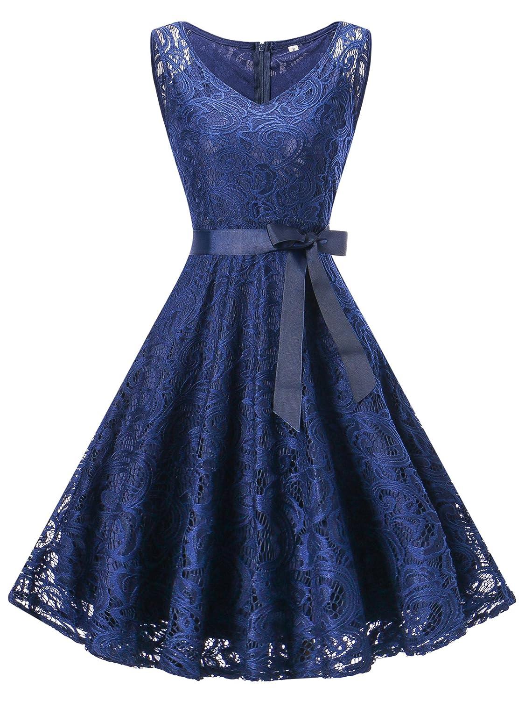 TALLA M/EU 38-40. Vestido Mujer de Encaje Corto Vestido de Fiesta Vestido de Cóctel Sin Manga con Lazo Cuello V y Cuello Redondo para Madrina Fietsa Boda Ceremonia y Eventos V-azul M/EU 38-40