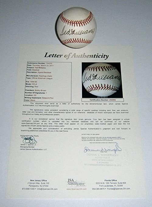 Red Sox Ted Williams Autographed Signed Al Baseball Memorabilia JSA Loa Hofer Auto Autographed Signed Boston at Amazons Sports Collectibles Store