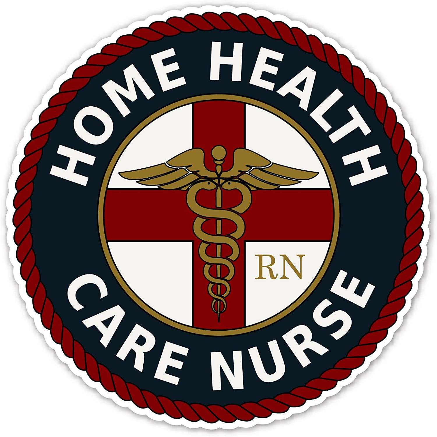 Home Health Care Nurse Certified RN Caduceus Staff of Hermes Gift for Nurse 3M Vinyl Decal Bumper Sticker 5x5 inches