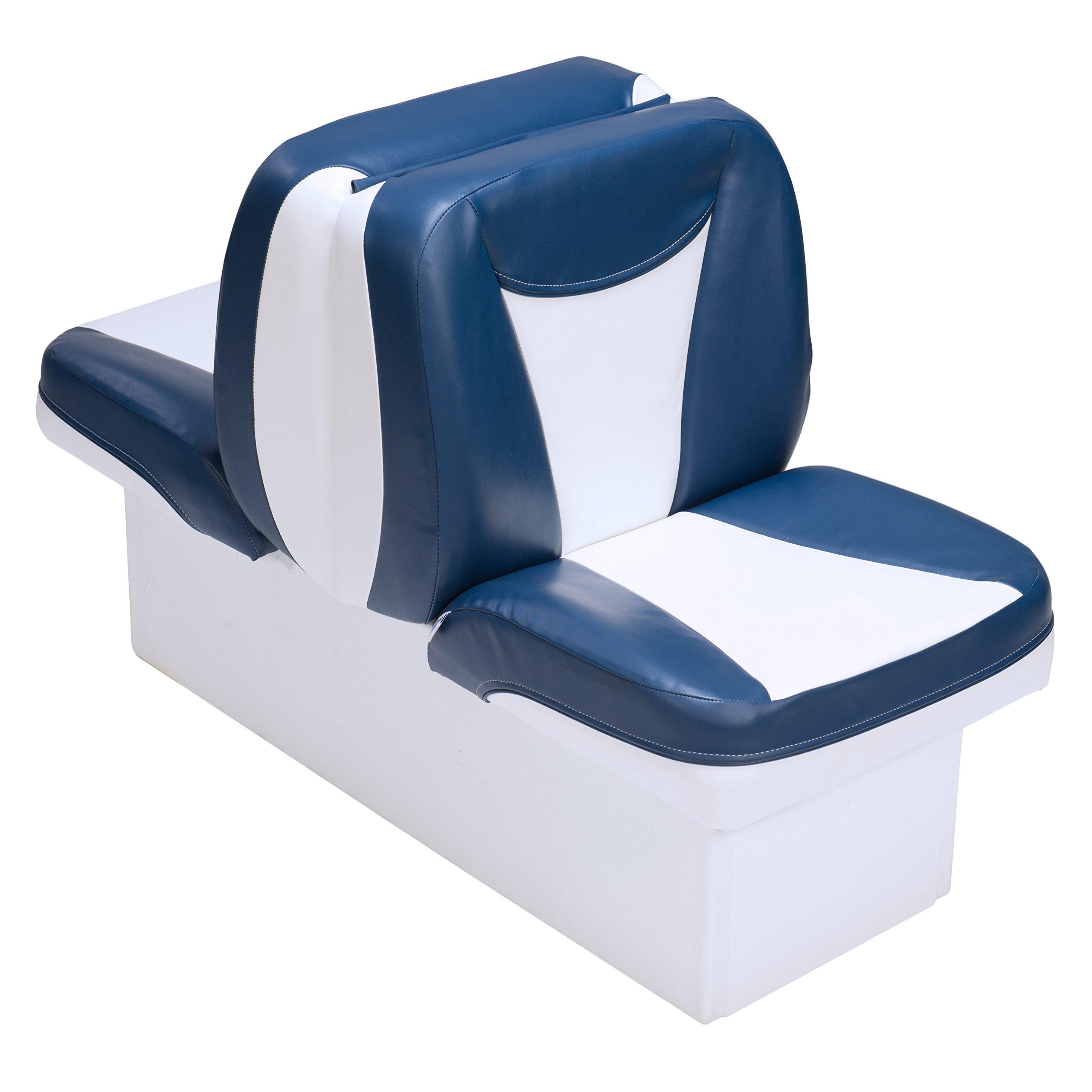 Premium Back to Back Boat Seats (White and Blue) by DeckMate Boat Seats