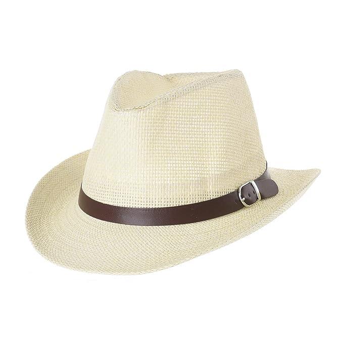 WITHMOONS Sombrero de Cowboy Western Cowboy Hat Paper Straw Linen Fedora  Panama Hat DW8658 (Ivory 7444eb171cb