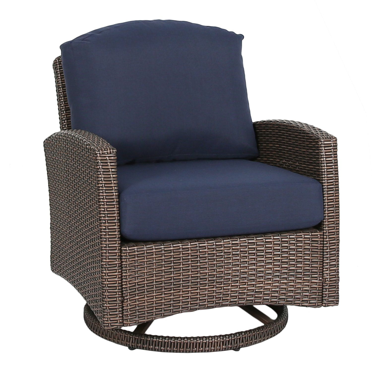 Ulax furniture Outdoor Wicker Swivel Club Chair Patio Lounge Chair with Cushion, Navy Blue