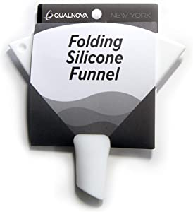 QualNova Flexible Kitchen Funnels for Filling Bottles. Small Funnel makes a Great Collapsible Flask Funnel for Liquor or a Water Bottle Funnel. Nonstick Food Grade Silicone Kitchen Funnel (NO BPA)