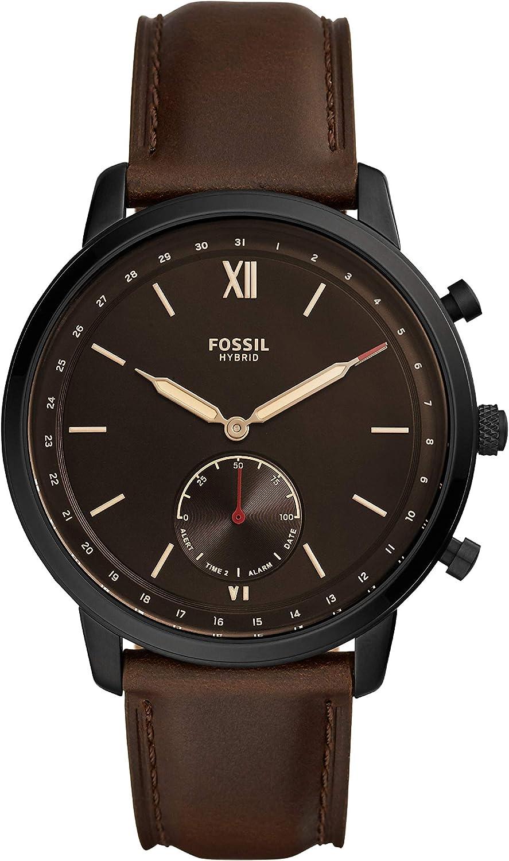 Fossil Smartwatch Híbrido para Hombre de Connected con Correa en Piel FTW1179