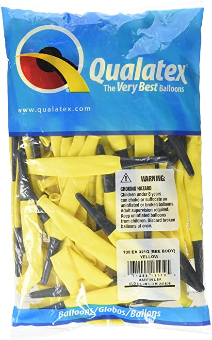 Qualatex 321Q Bee Body Entertainer Party Balloon, 21 x 3 x 3 inches, Yellow