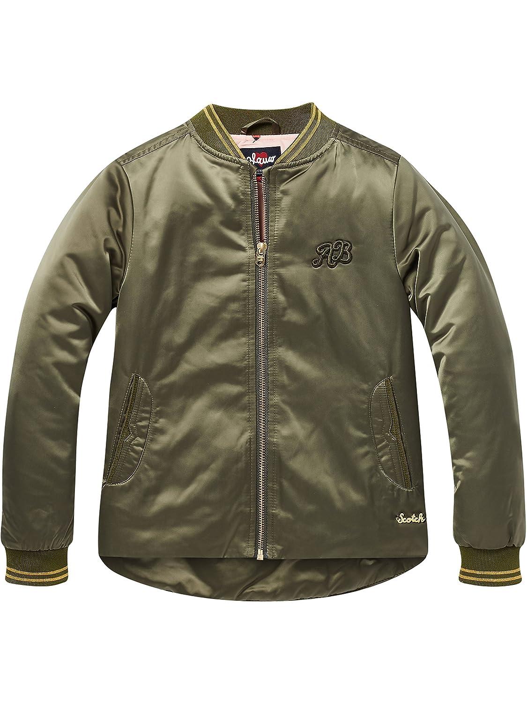 Scotch /& Soda M/ädchen Jacke Bomber Jacket with Uneven Bottom in Satin Quality,