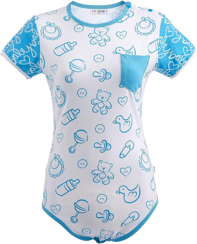 ABDL Snap Crotch Pagliaccetto Pigiama vivaio Blu//Rosa Tutina LittleForBig Tutina per Pannolini per Beb/è per Adulti