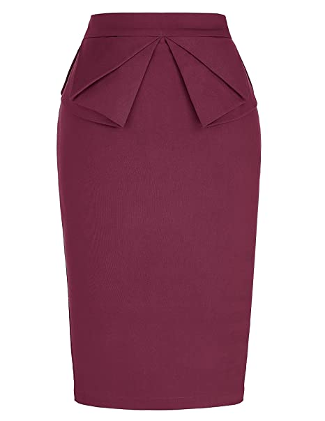 106f1cbe895 Women s Plus Size Wine Red High Waist Bodycon Pencil Skirt Office Wear (1X)  KL