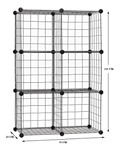 SEVVY – Multiuse DIY 6 Cube Storage Organiser, Book Shelf, Storage Cabinet, Toy Organiser – (Black Wire)
