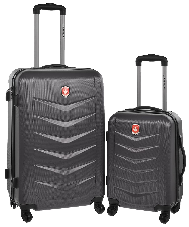 Amazon.com | Canada Black Lightweight Hard Side Wheeled Suitcase 2 ...