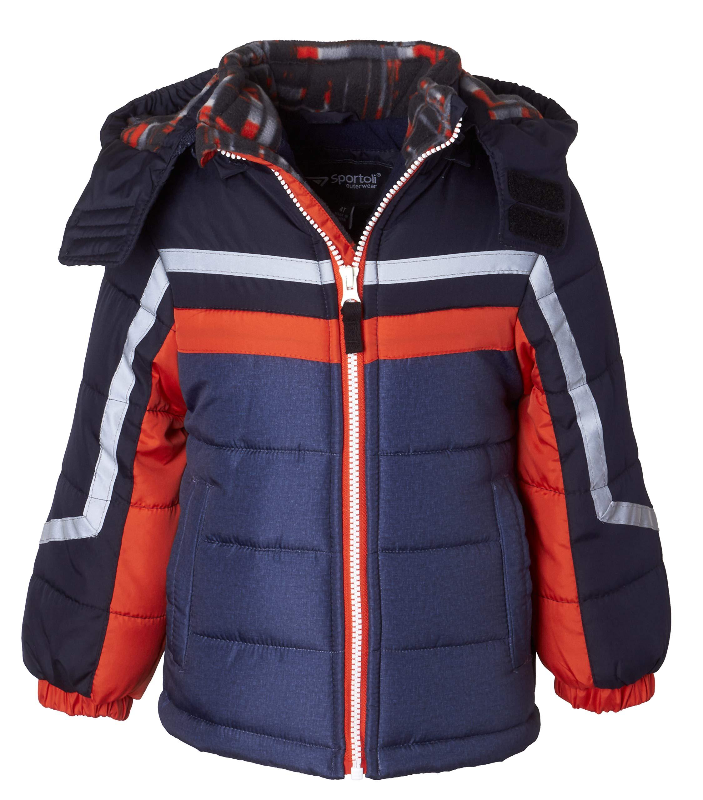 Sportoli Boys' Fleece Lined Hooded Colorblock Winter Puffer Bubble Jacket Coat - Orange Print (Size 5/6)