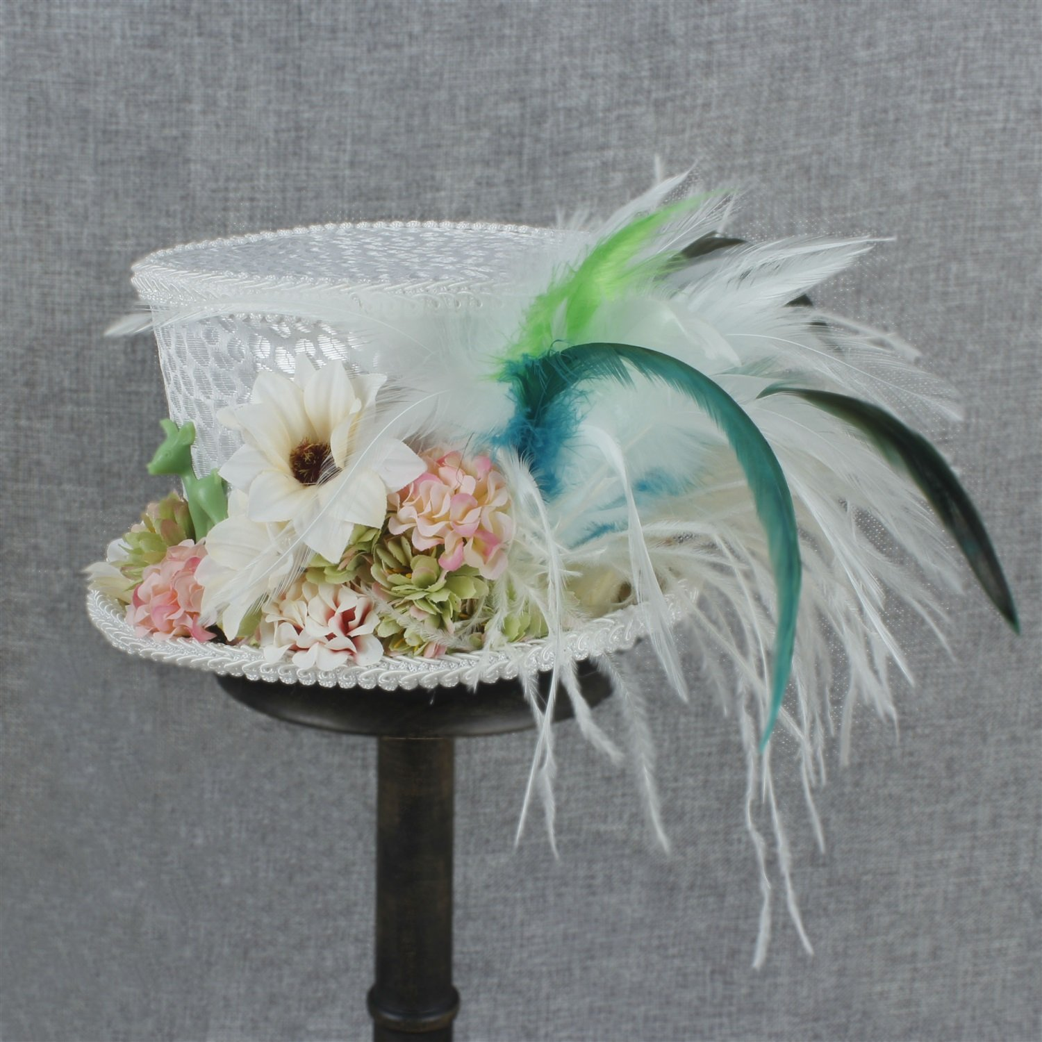 LL Women's White Mini Top Hat Tea Hat Mad Hatter Tea hat, Bridal Hat, Kentucky Derby hat (Color : White, Size : 25-30cm) by LL (Image #7)