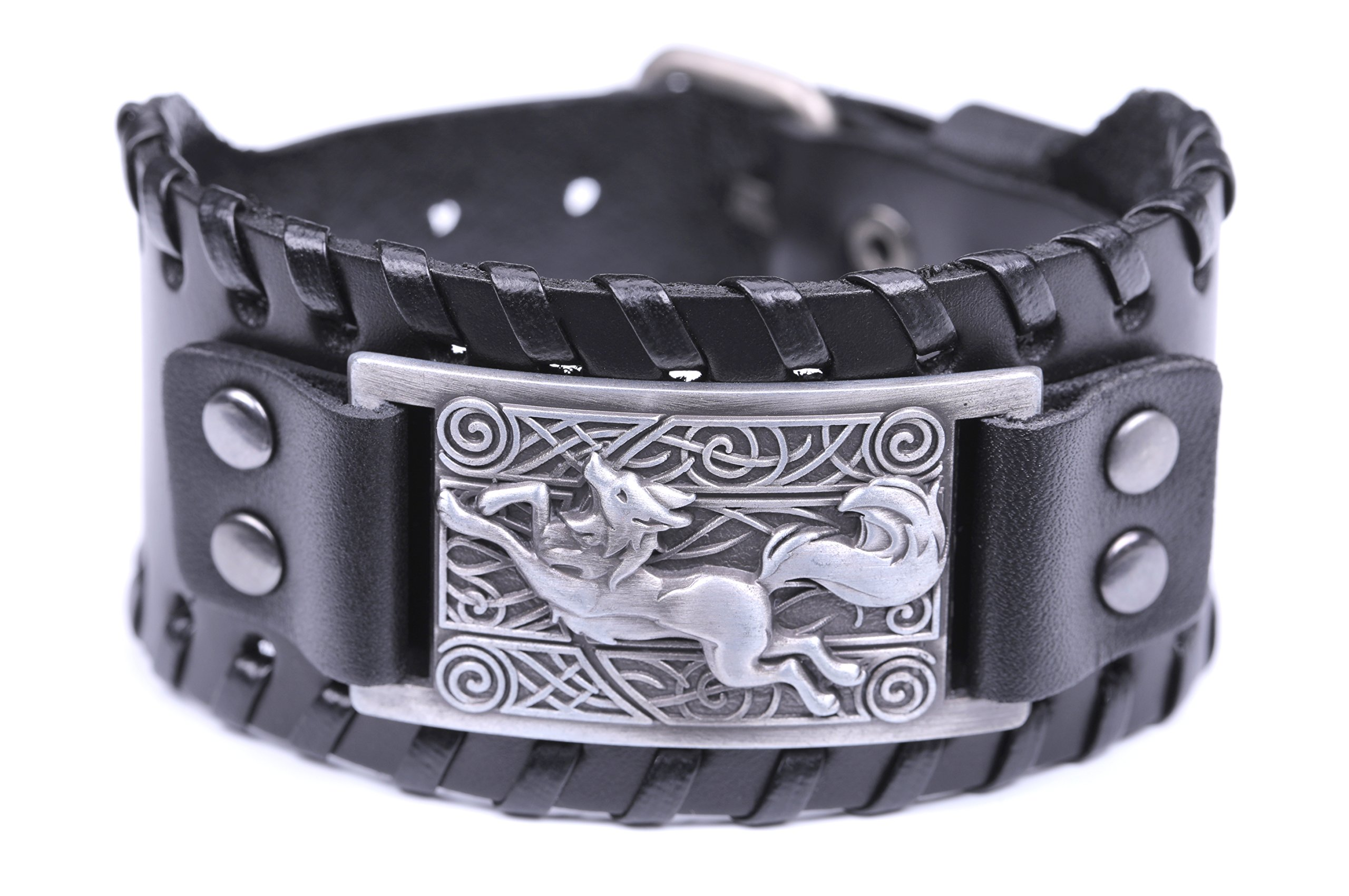 VASSAGO Pagan Nordic Viking Wolf Celtic Knot Metal Cuff New Style Bracelet Spiritual Animal for Men/Women Gift (Black Leather, Antique Silver)