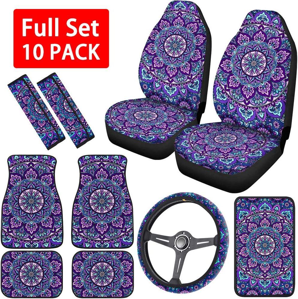 For Subaru New Lotus Car Truck SUV Seat Covers Headrest Floor Mats Full Set