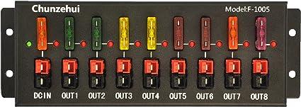 Chunzehui F-1008 Horizontal 9 Port 40A Connector Power Splitter Distributor Source Strip 1 Input and 8 Output.