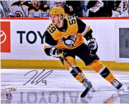"62805548f97 Jake Guentzel Pittsburgh Penguins Autographed 8"" x 10"" Gold  Alternate Jersey Action Photograph -"