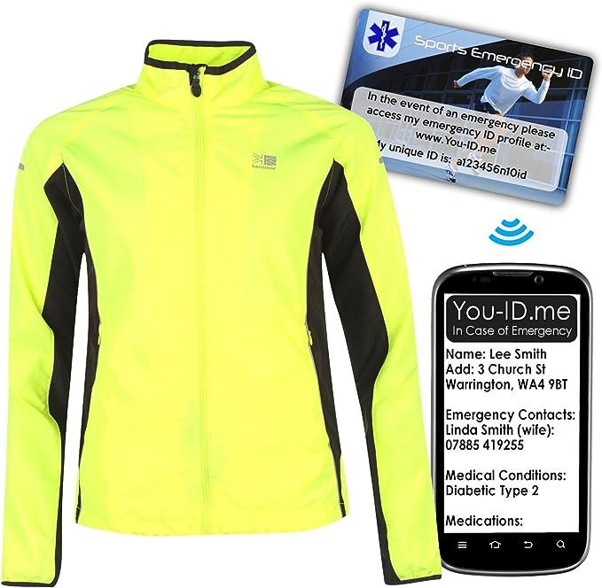 Reflektierende Winterjacke Sportjacke für Damen Gut sichtbares, fluoreszierendes Gelb und reflektierende Ränder Qualitätsmarke Karrimor Atmungsaktiv