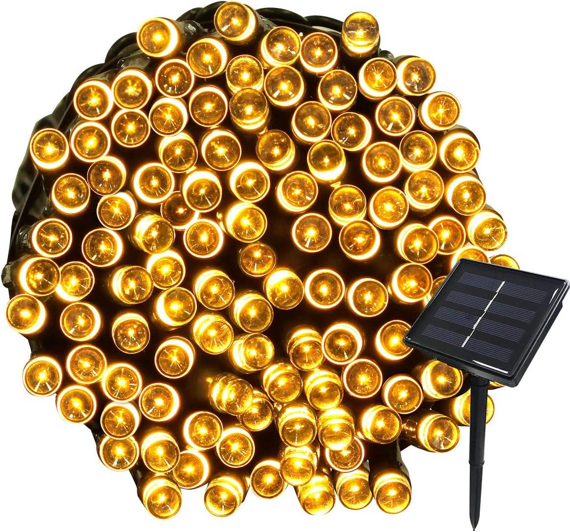 Rose Tuokay 22M Guirlande Solaire 200 LED 8 Jeux de Lumi/ère Guirlande Lumineuse Id/éal pour F/ête Mariage Anniversaire et Jardin Ext/érieur