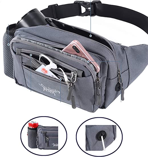 TOP-UP Water Resistant Fanny Pack Fashion Multi-functional With Multiple Zippered Compartments Tour Lumbar Pack Sports Bag Waist Pack Stylish Unisex Design