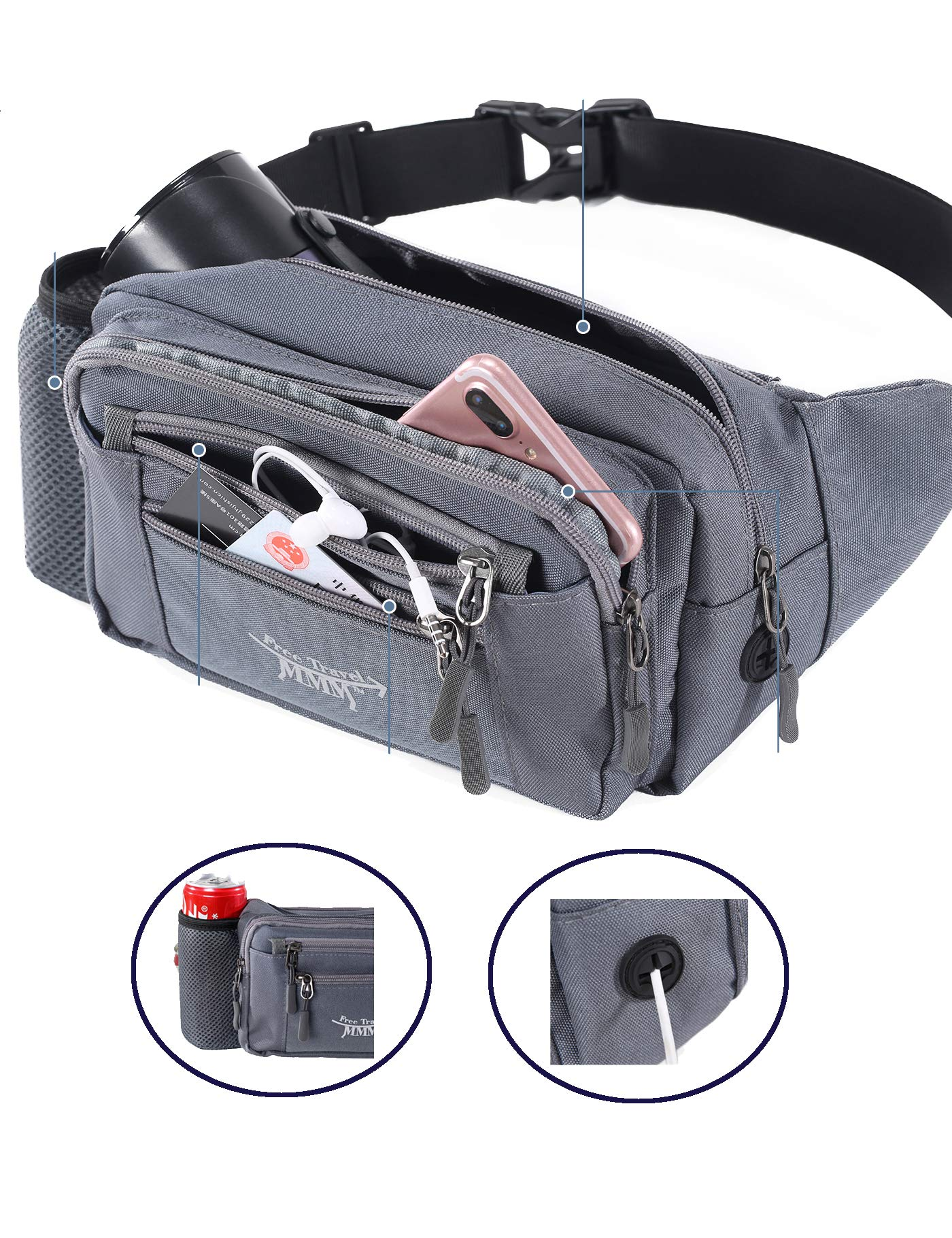 FTMMM Fanny Pack Running Waist Pack Bag for Men & Women with 1 Water Bottle Holder Lumbar Pack Fashion Multi-Function with Headphone Jack for Outdoors Workout Traveling Casual Running Hiking Cycling by FTMMM