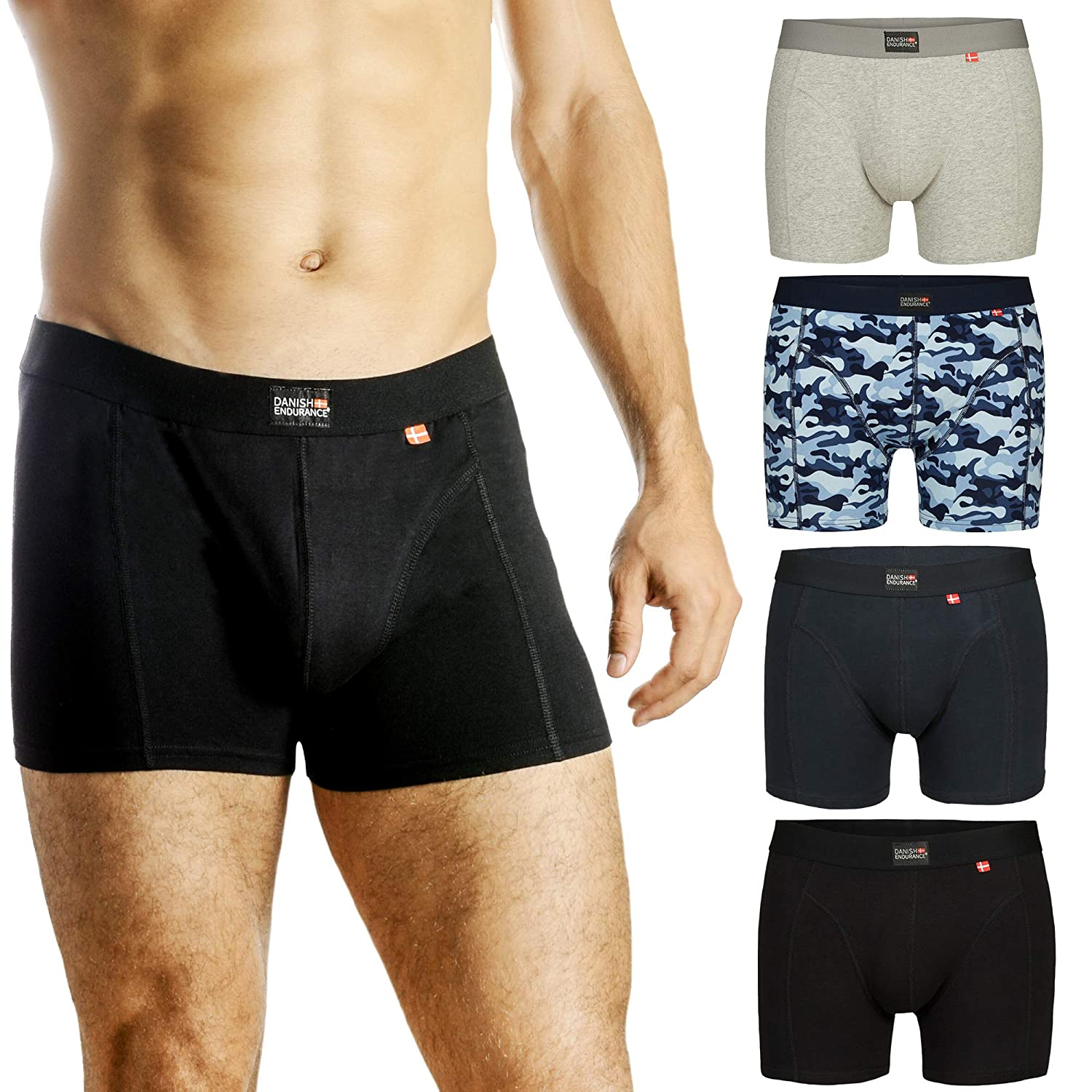 DANISH ENDURANCE Men's Trunks 3-Pack, Ultra Soft Stretchy Cotton, Classic Fit Underwear, Superior Fit & Comfort, Multipack Boxershorts, Cool Performance, Black, Grey, Navy Blue