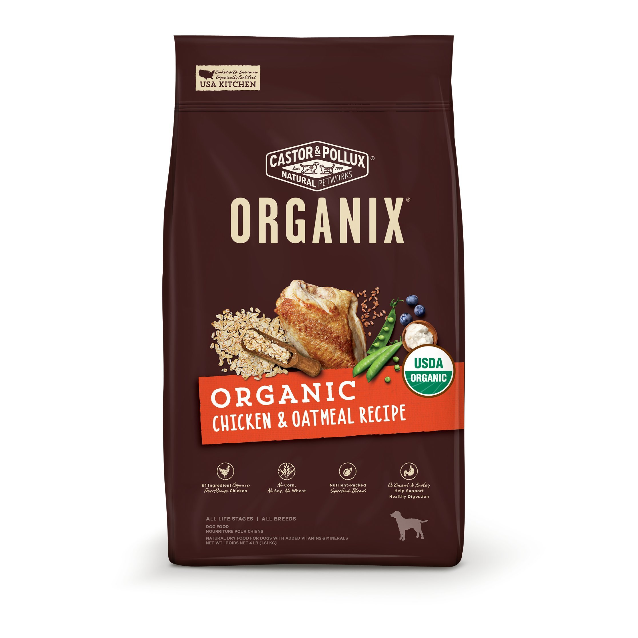 Castor & Pollux Organix Organic Chicken & Oatmeal Recipe Dry Dog Food 18Lb