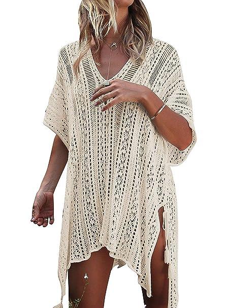 7d0e27cf9d667 RanRui Swimsuits for Women Cover ups for Swimwear Crochet Hollow Out  Knitted Vneck Tunic Beach Dress
