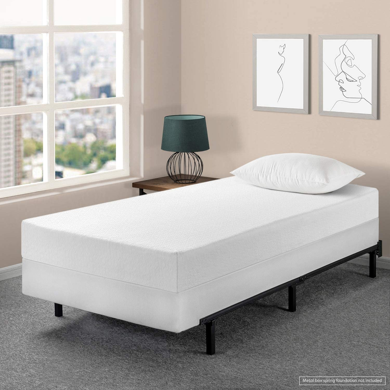 Best Price Mattress 8 Memory Foam Mattress 7.5 New Innovative Box Spring Set, Twin