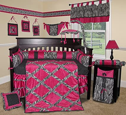 SISI bebé ropa de cama – rosa Zebra 15 pcs para cuna juego de cama de