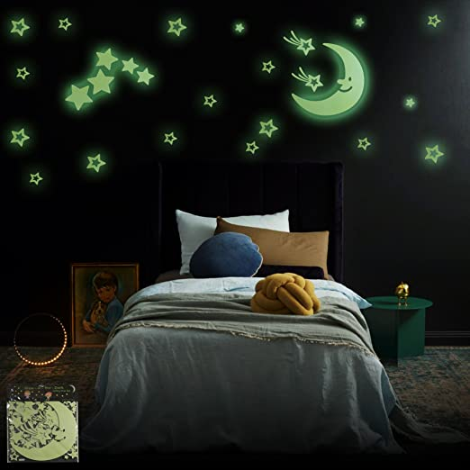 Glow in the Dark Stars Set - Largest, Brightest & Most Durable Set of Glow Stars on the Market! 103 Stars, Moon, Shooting Stars, Comets & Clouds, Create a Starry Night for Children of All Ages