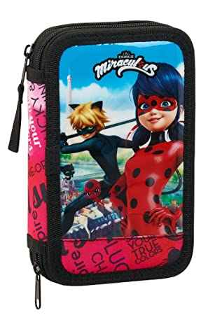 Amazon.com: Miraculous Ladybug & Cat Noir Plumier doble ...