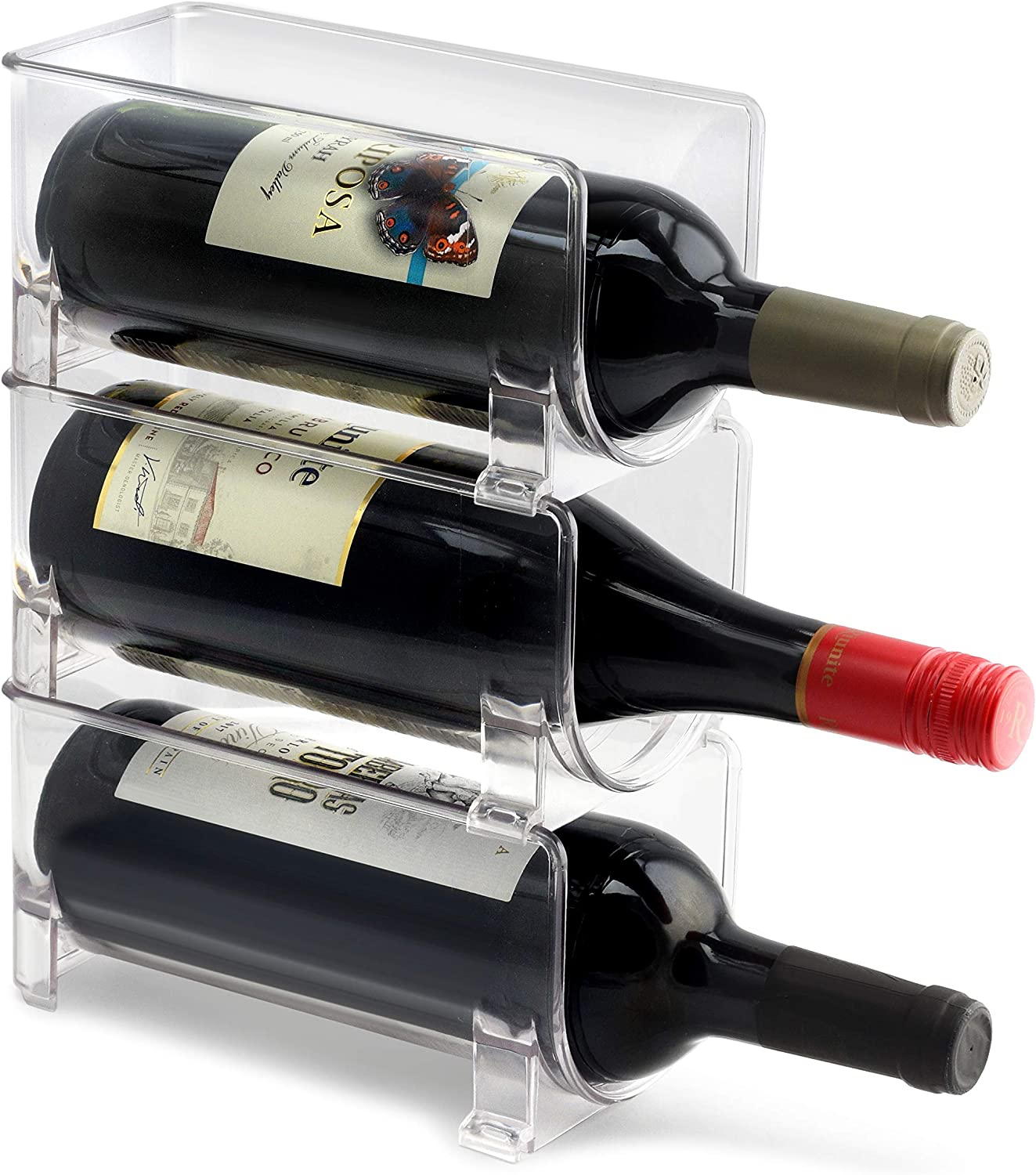 ELTOW Modular Plastic Wine Rack (3-Pack) Stackable Display and Storage System - Clear, Heavy-Duty PET Plastic - Home Kitchen, Bar, Countertop, or Dining Room Use