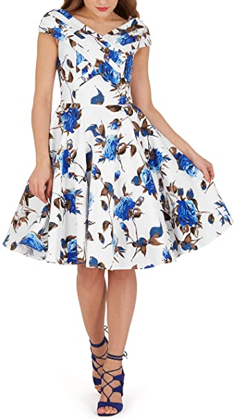 BlackButterfly Enya Vestido Vintage Pin-Up Mercy (Blanco Azul, ...