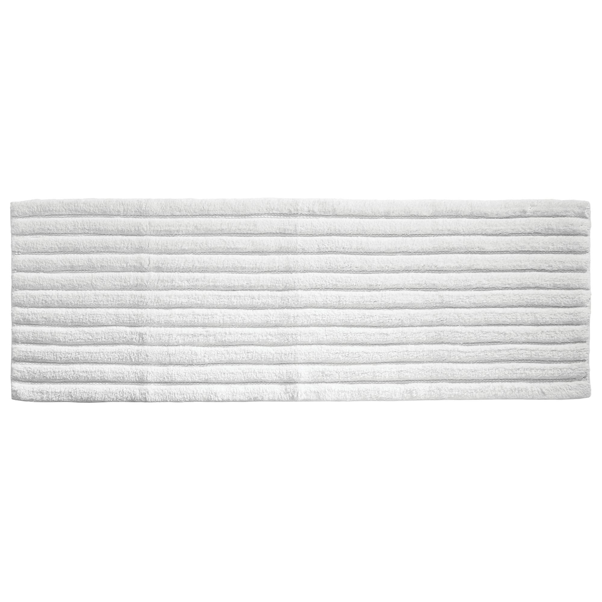 mDesign Soft 100% Cotton Luxury Hotel-Style Rectangular Spa Mat Rug, Plush Water Absorbent, Ribbed Design - for Bathroom Vanity, Bathtub/Shower, Machine Washable - Long Runner, 60'' x 21'', White
