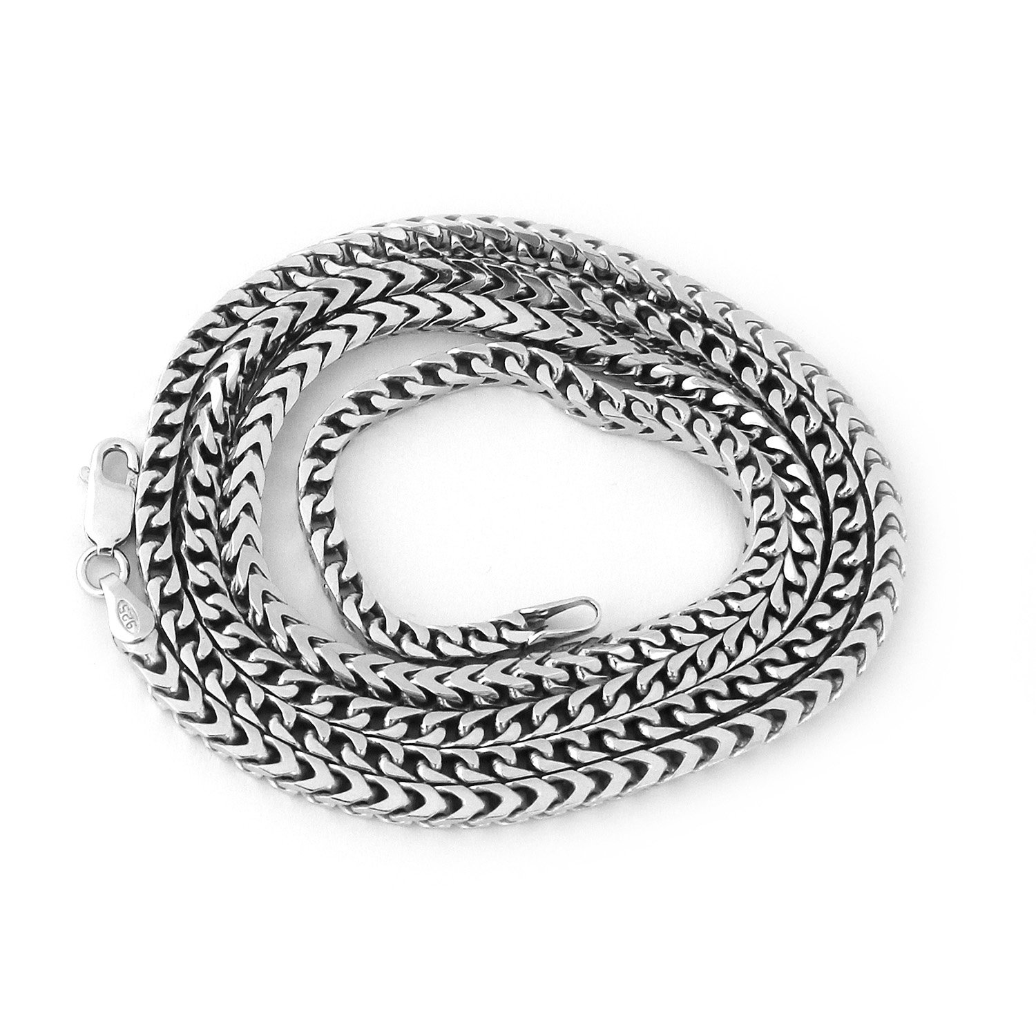 Men's Solid Sterling Silver Rhodium Plated 3mm Comfort Franco Chain Necklace, 24'' by Beauniq (Image #1)